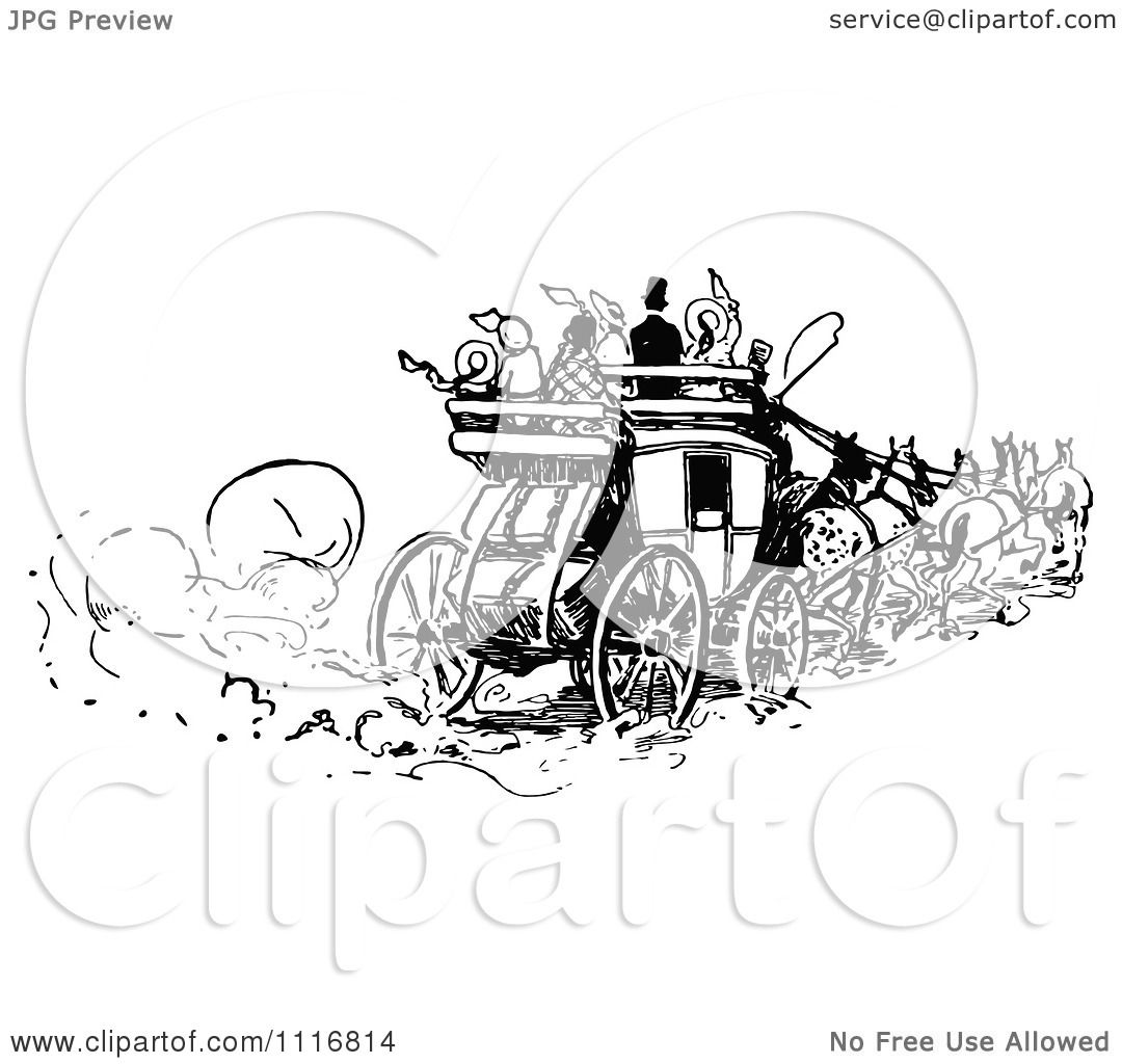 Clipart Of Retro Vintage Black And White People On A Horse