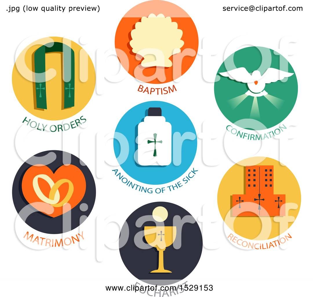 Clipart Of Seven Sacraments Icons Of A Catholic Church
