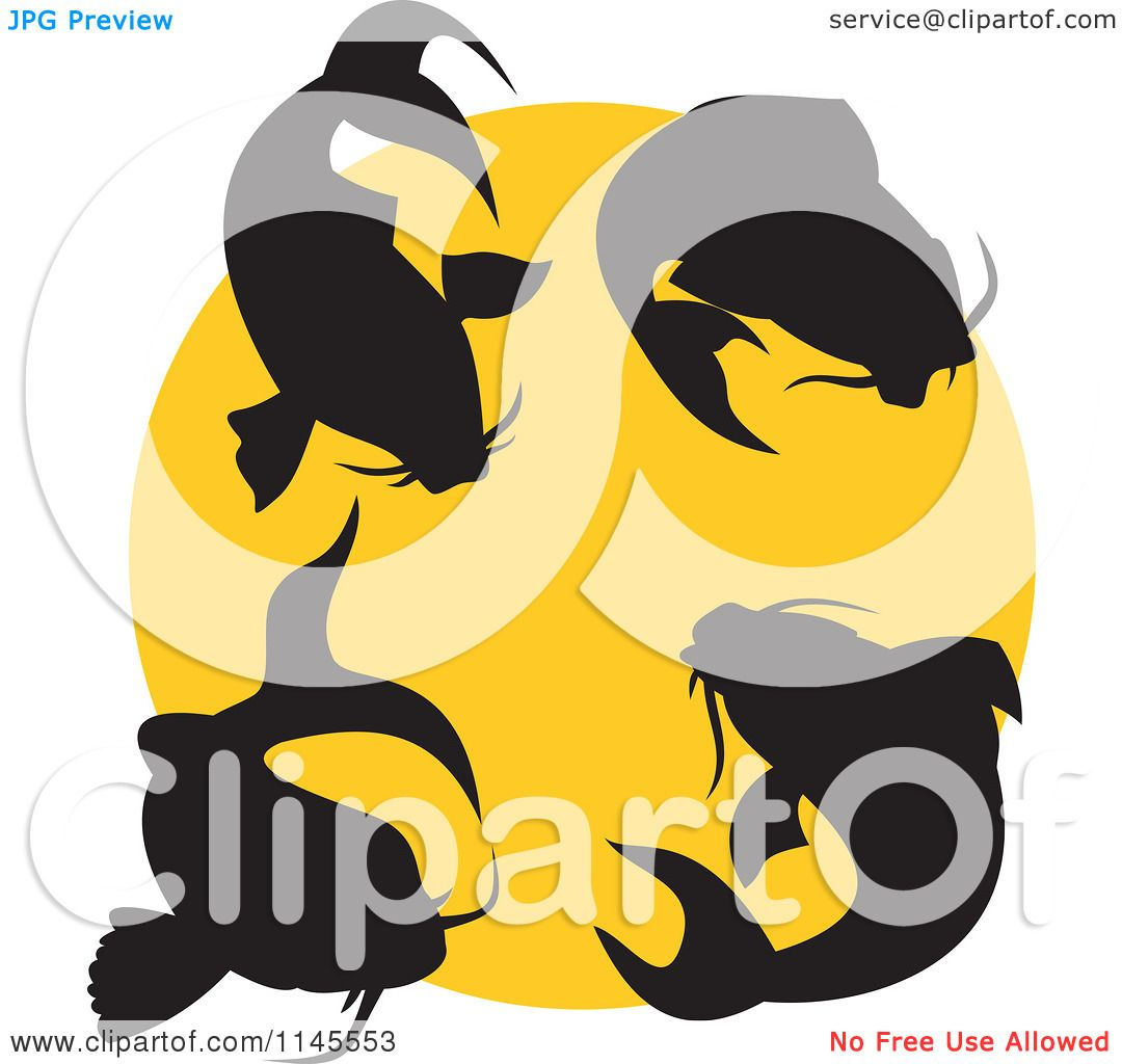 Clipart Of Silhouetted Koi Fish Over A Yellow Circle