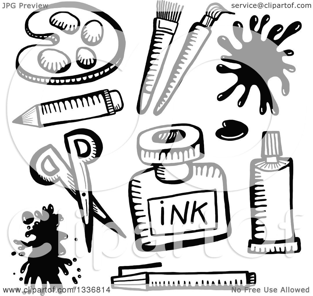Clipart Of Sketched Black And White Doodled Art Supplies