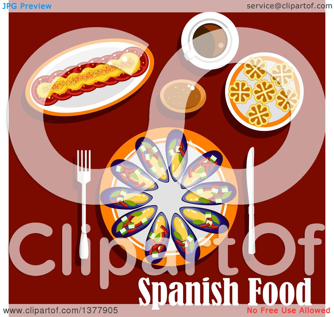 Clipart Of Spanish Food With Text Over Red