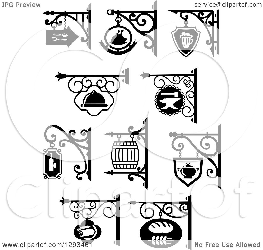 Clipart Of Vintage Black And White Hanging Storefront