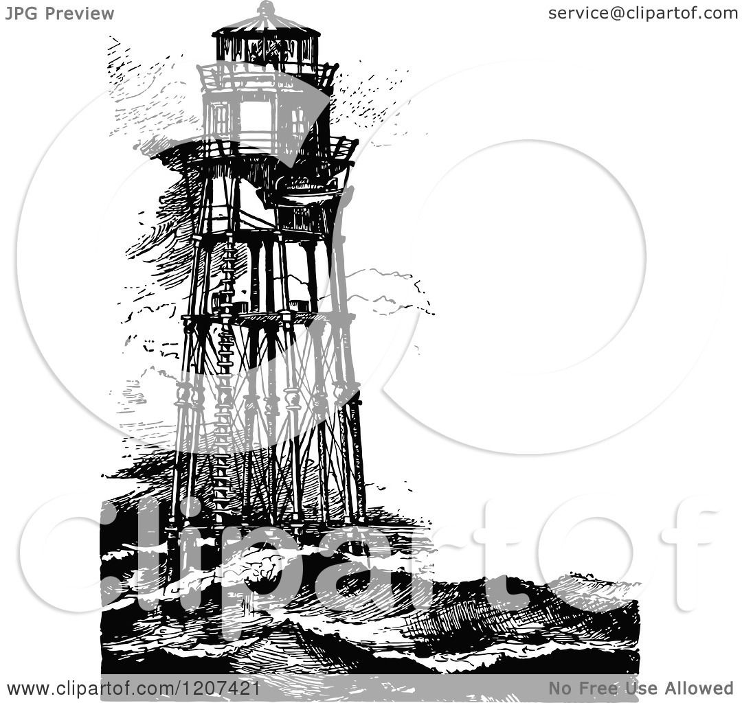 Clipart Of Vintage Black And White Minots First Lighthouse