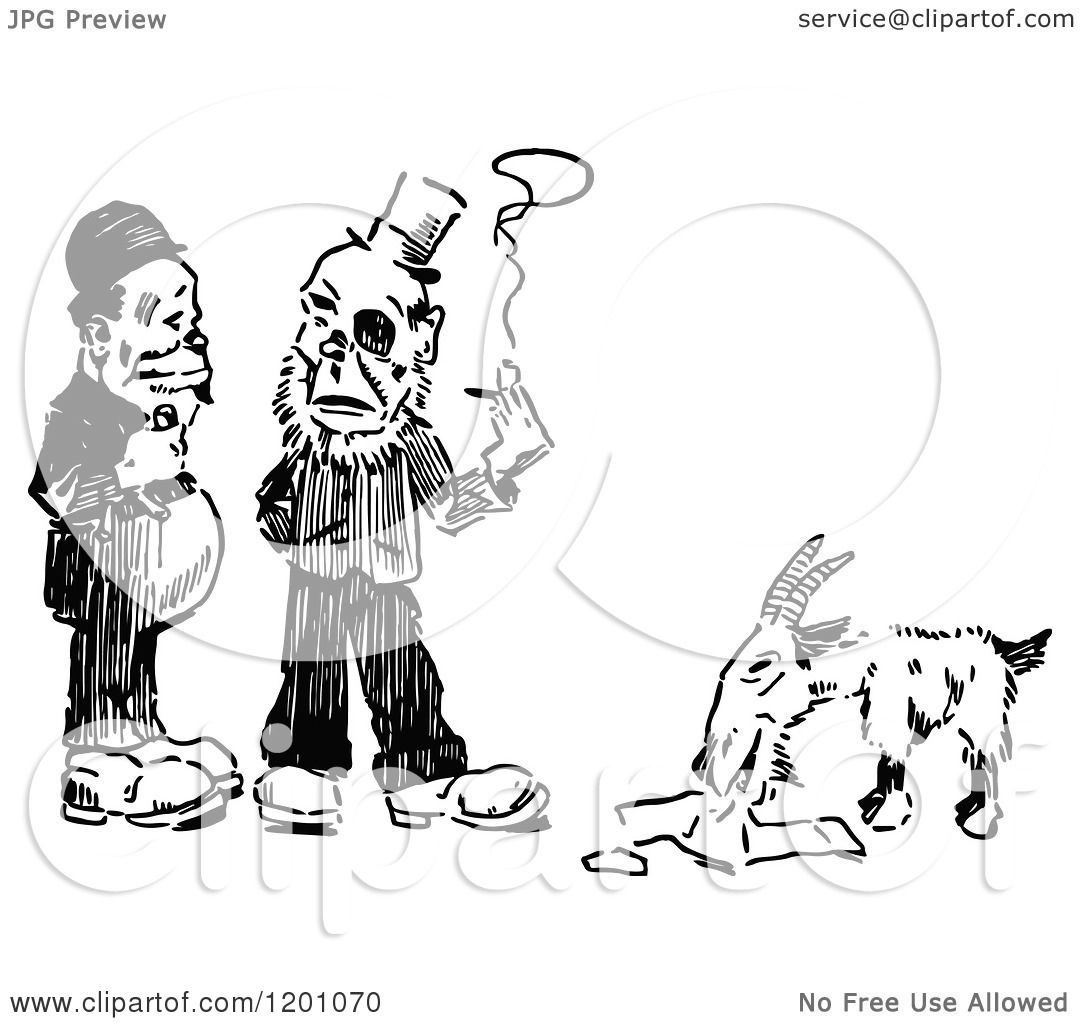 Clipart Of Vintage Black And White Two Men Talking