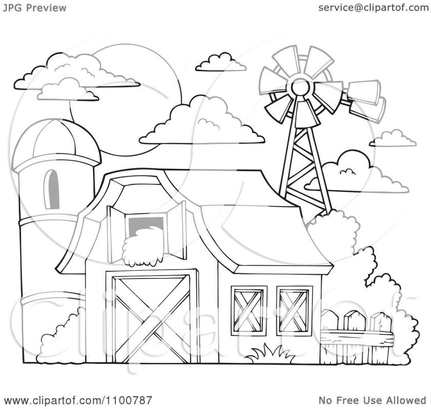 clipart outlined barn  hay in the loft a silo and