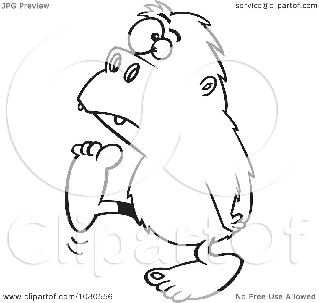 Clipart Outlined Bigfoot Walking To The Left