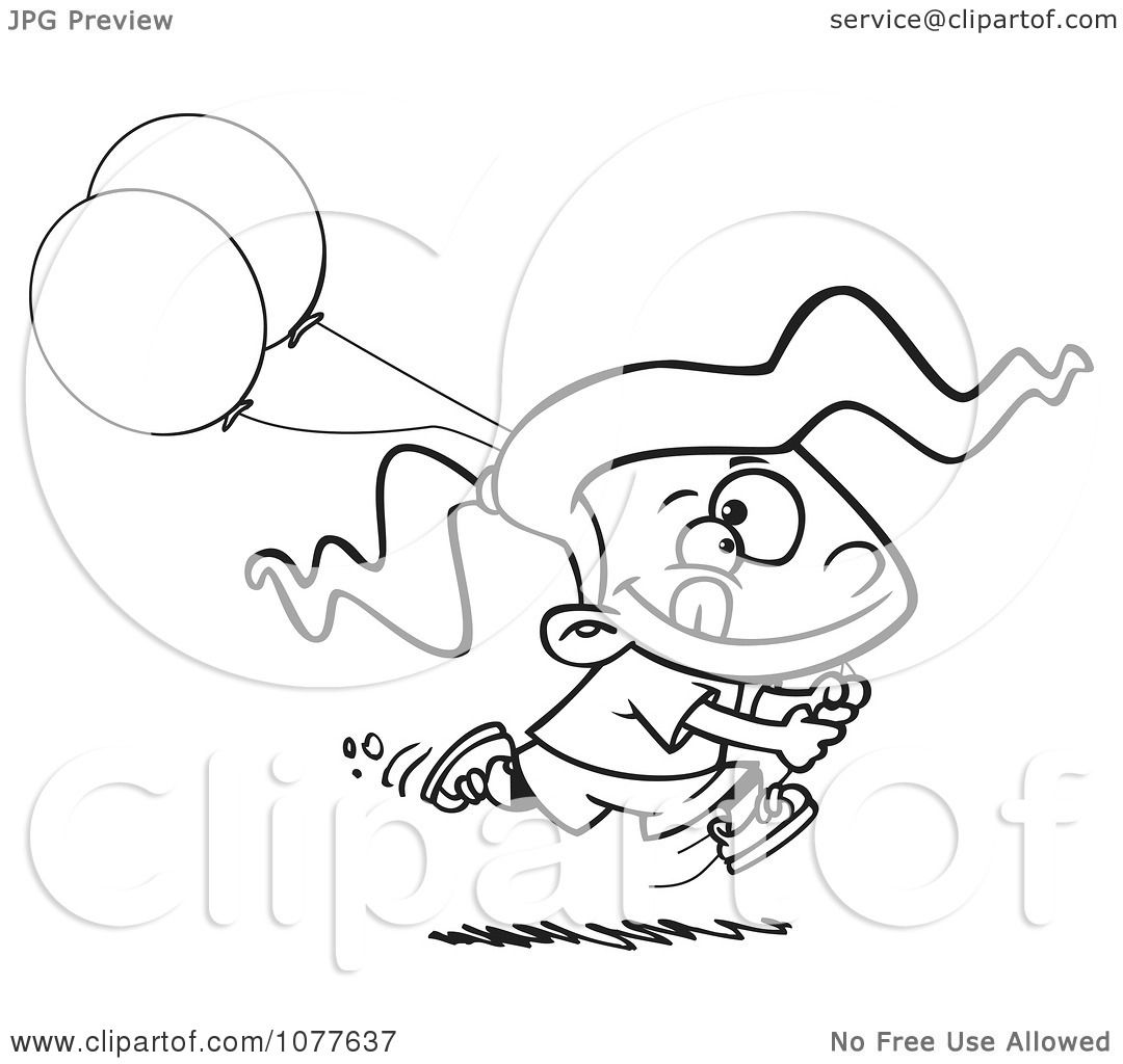 Clipart Outlined Birthday Girl Running With Party Balloons