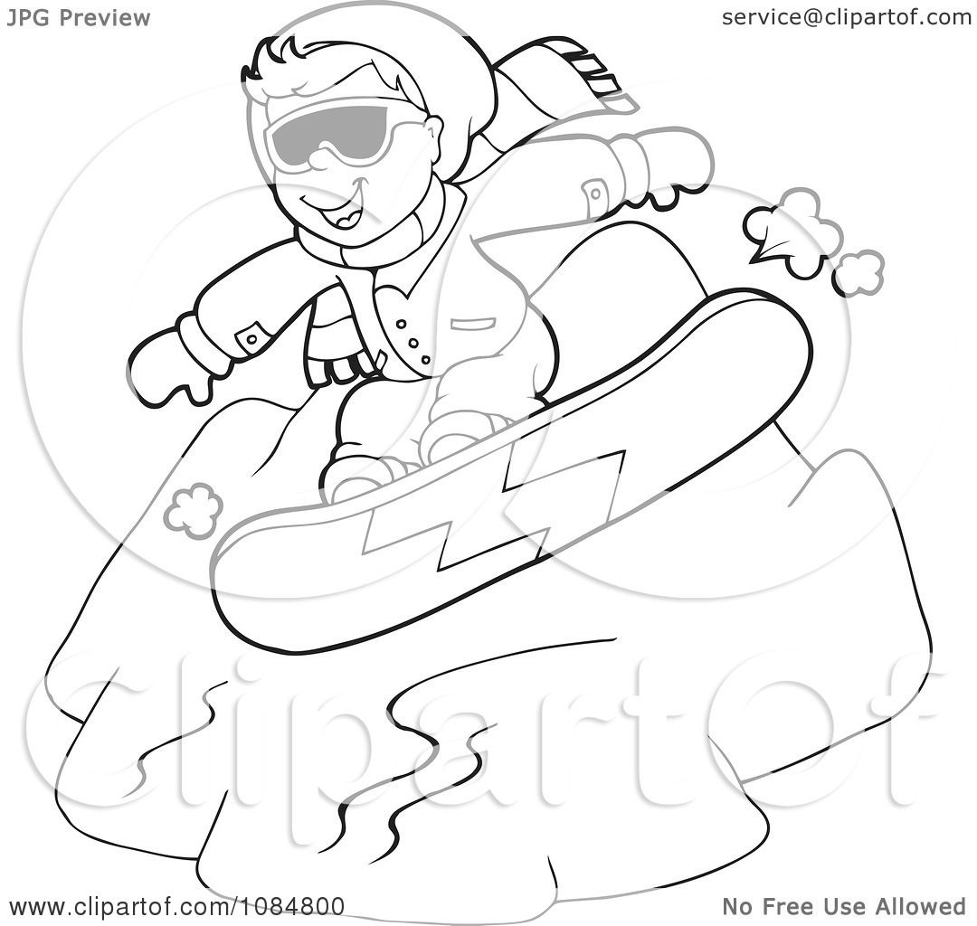 Clipart Outlined Boy Snowboarding Down A Hill