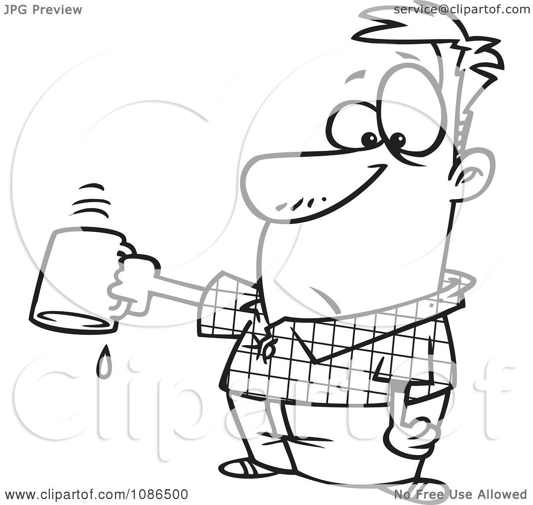 Clipart Outlined Businessman Turning Out His Last Drop Of