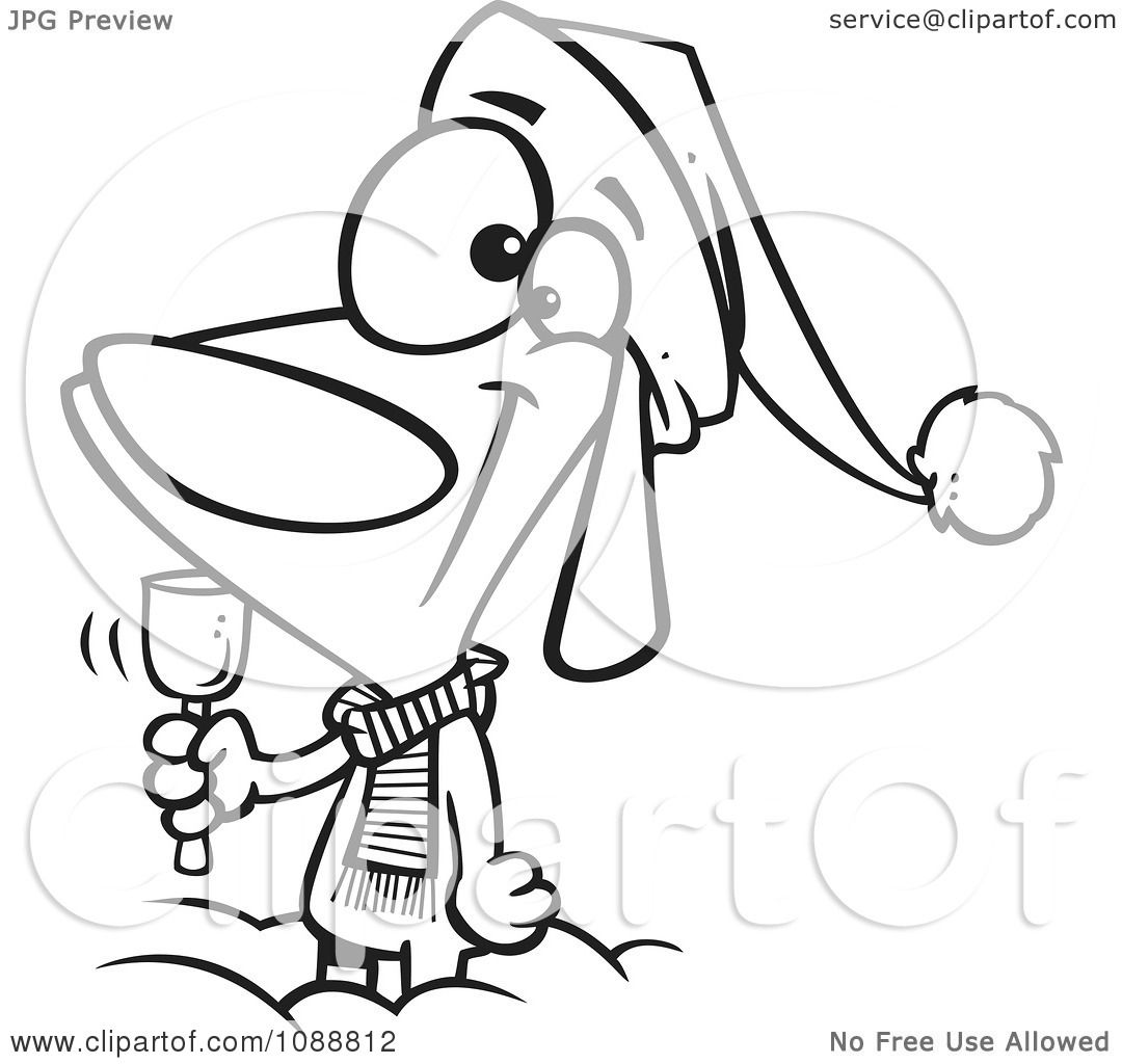 Clipart Outlined Christmas Dog Ringing A Bell For