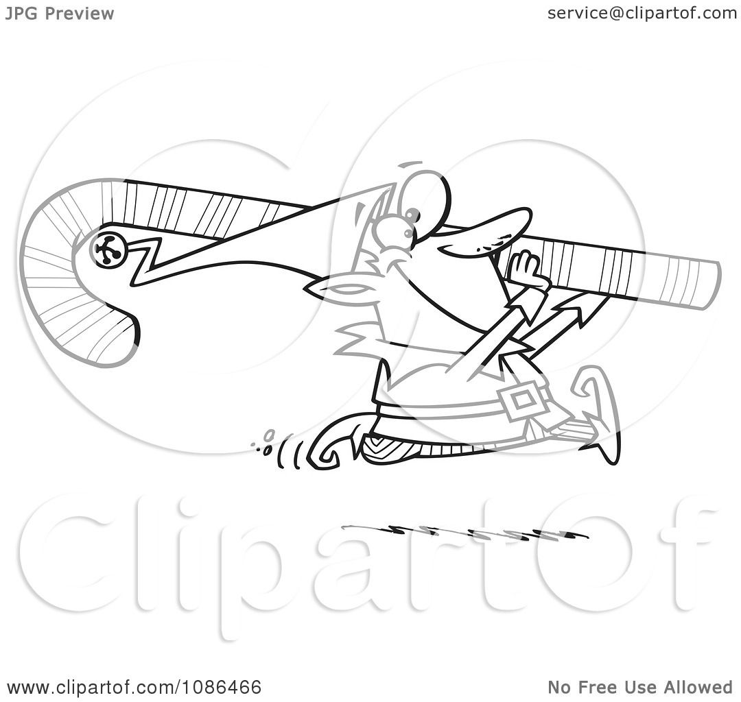 Clipart Outlined Christmas Elf Carrying A Candy Cane