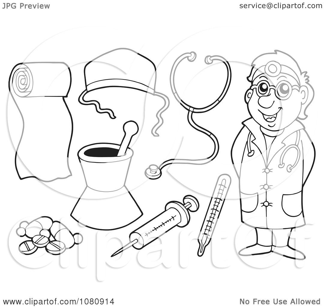Clipart Outlined Doctor And Medical Items
