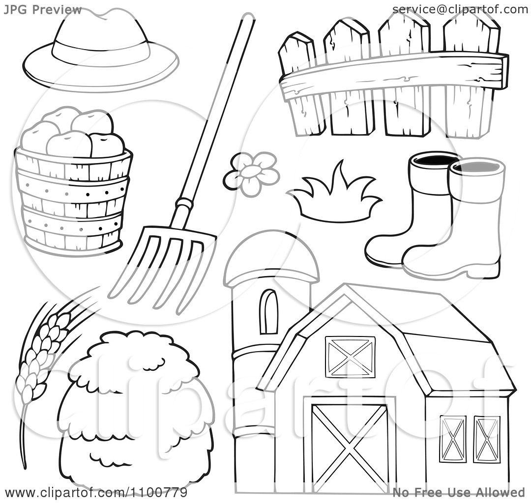 Clipart Outlined Farmer Hat Pitchfork Fence Rubber Boots Apples Wheat Hay And Barn