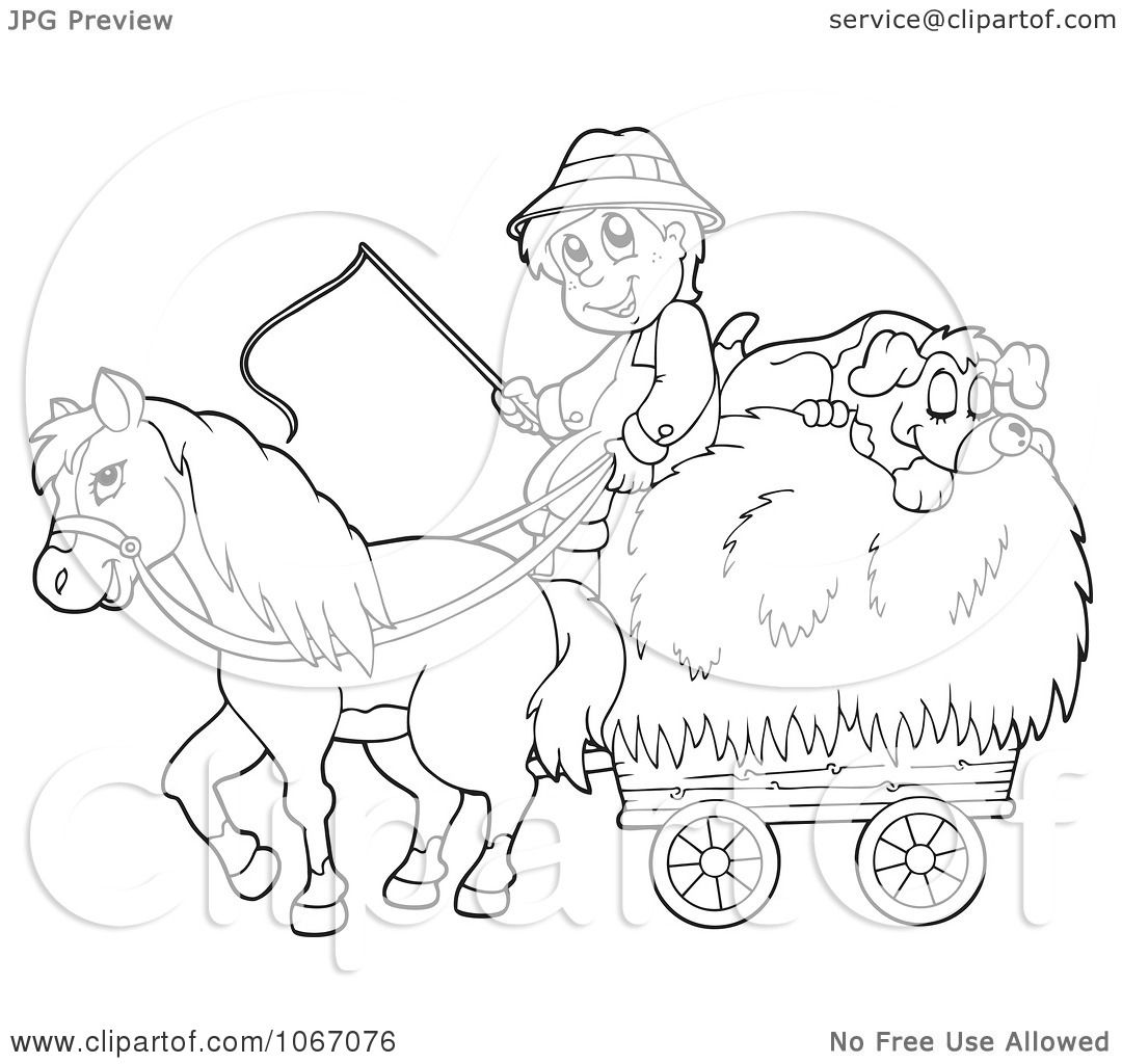 Clipart Outlined Farmer With A Horse And Dog Sleeping On Hay