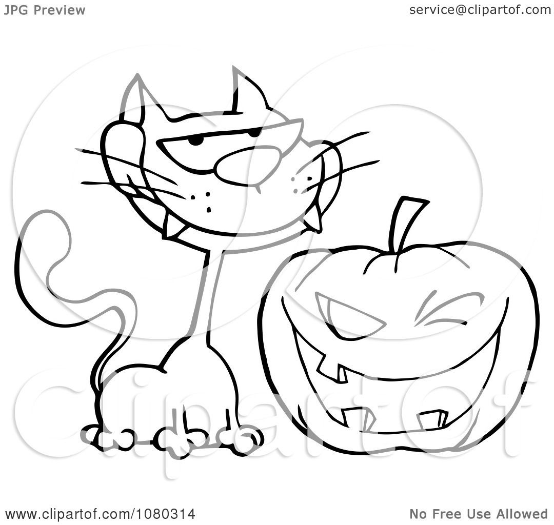 Clipart Outlined Grinning Cat And Winking Halloween