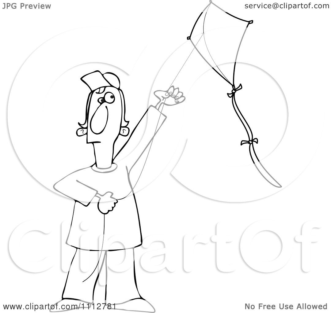 Clipart Outlined Guy Flying A Kite