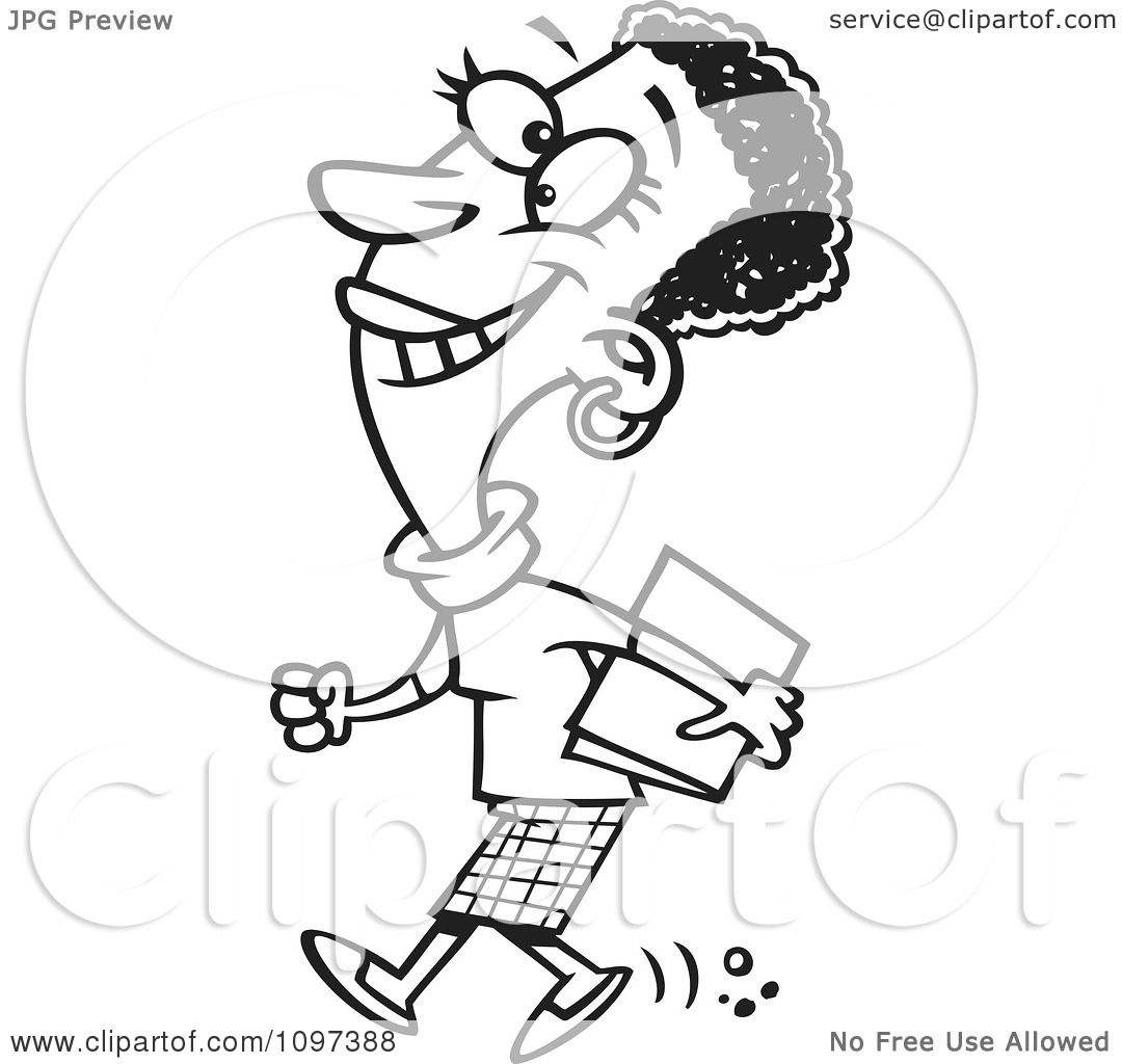 Clipart Outlined Happy Black Business Woman Walking To A Meeting