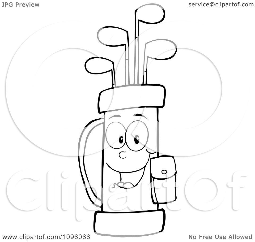 Clipart Outlined Happy Golf Bag Full Of Clubs