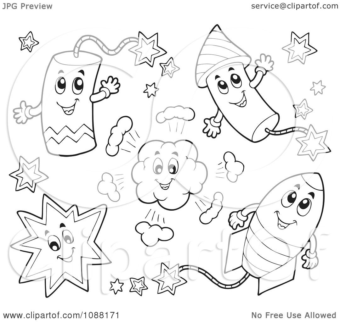 Clipart Outlined Happy Holiday Fireworks 1