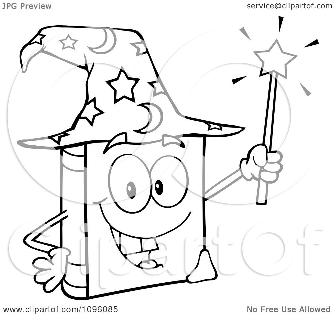 Clipart Outlined Happy Spell Book With A Wizard Hat And