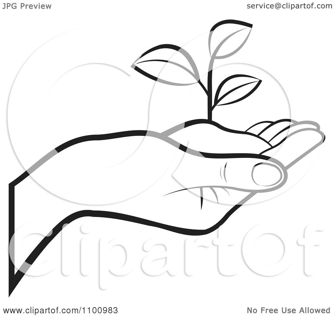 Clipart Outlined Human Hand Holding A Plant In Soil