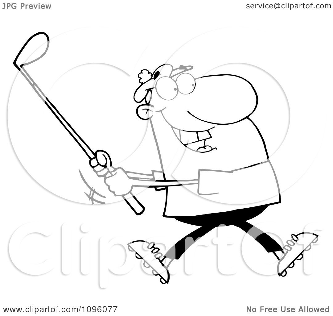 Clipart Outlined Man Swinging At A Golf Ball