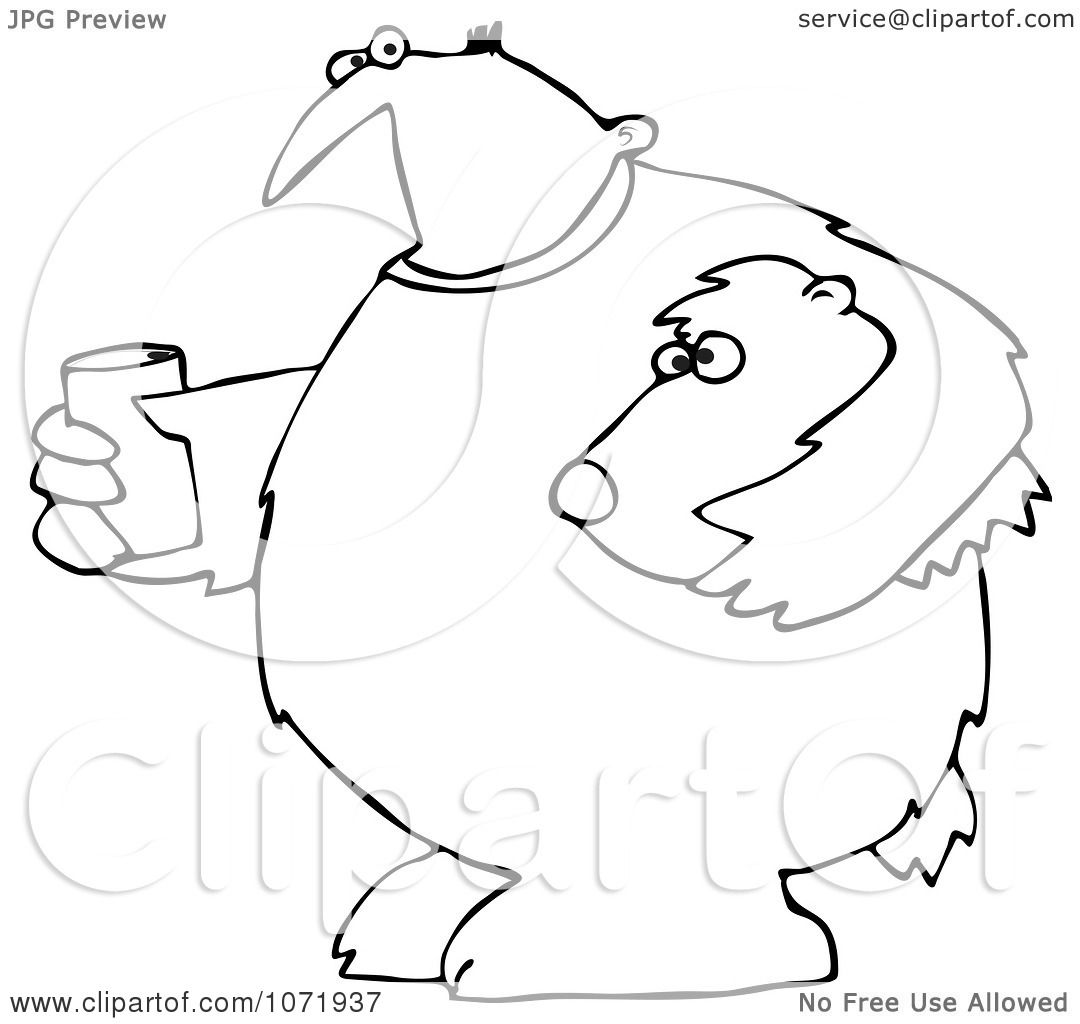 Clipart Outlined Mascot Man In A Bear Suit Holding A Glass