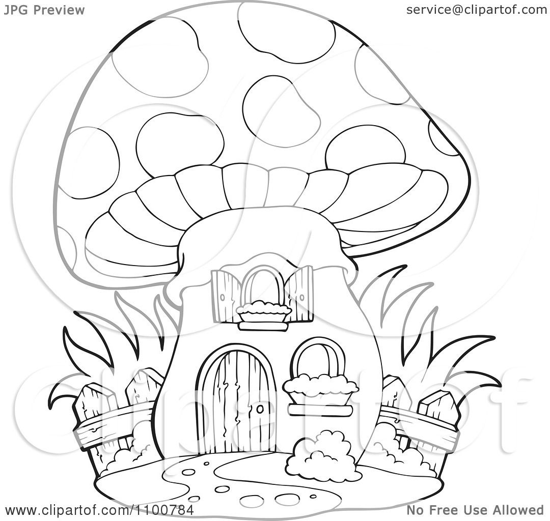 Clipart Outlined Mushroom House With A Wooden Fence