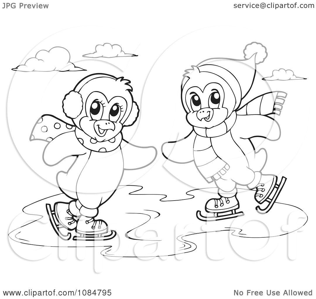 Clipart Outlined Penguins Ice Skating