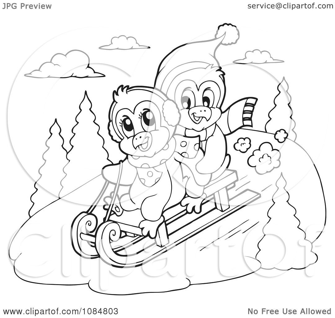 Clipart Outlined Penguins Sledding