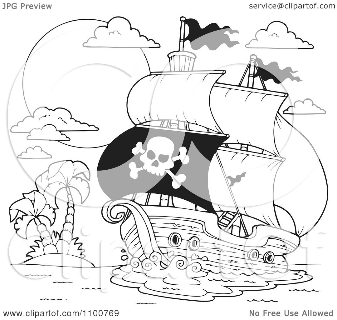 Clipart Outlined Pirate Ship Nearing A Tropical Island