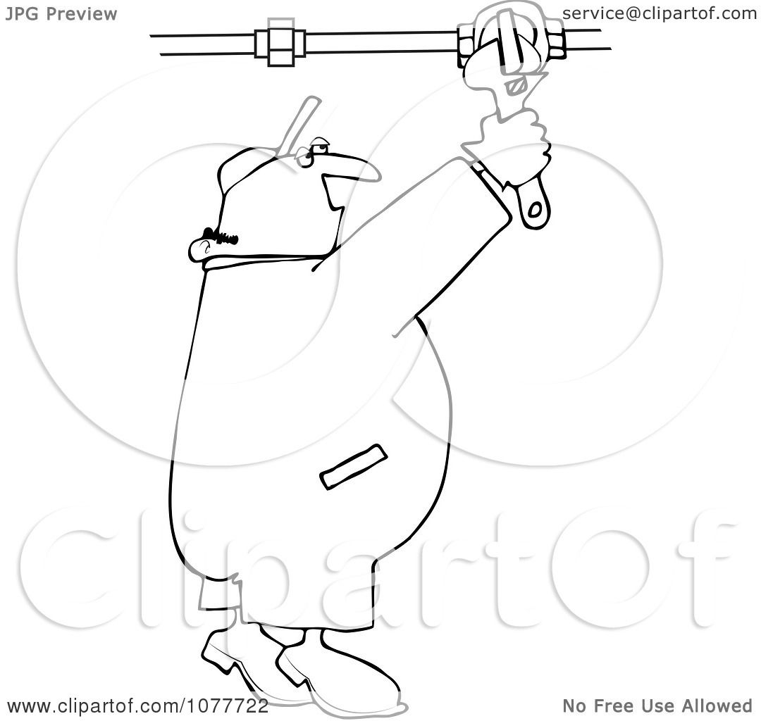 Clipart Outlined Plumber Turning On A Pipe Valve