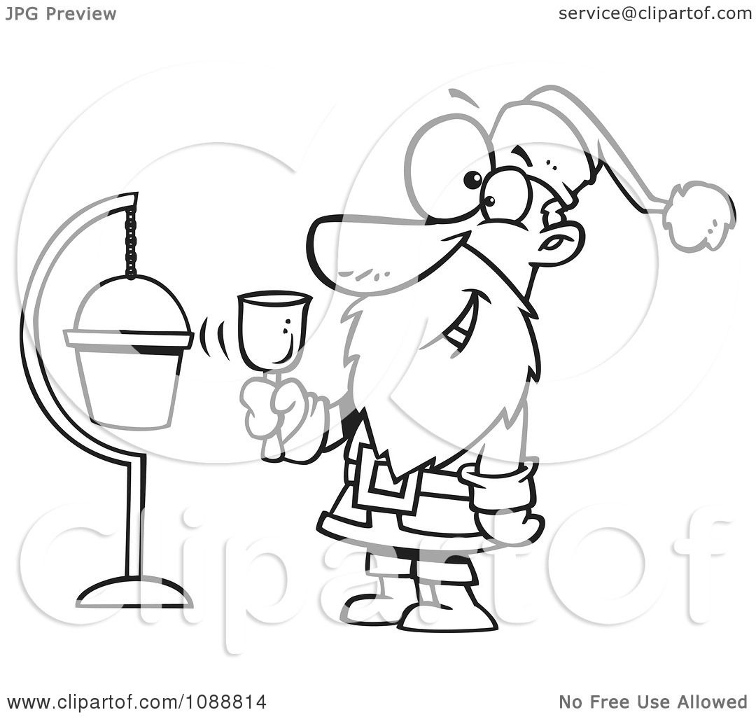 Clipart Outlined Santa Ringing A Bell By A Donation Cup