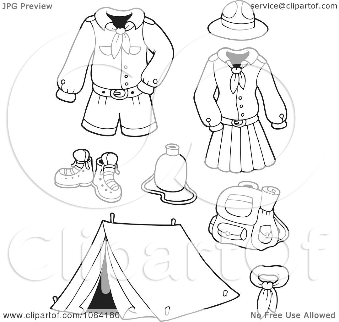 Clipart Outlined Scout Uniforms And Gear Digital Collage