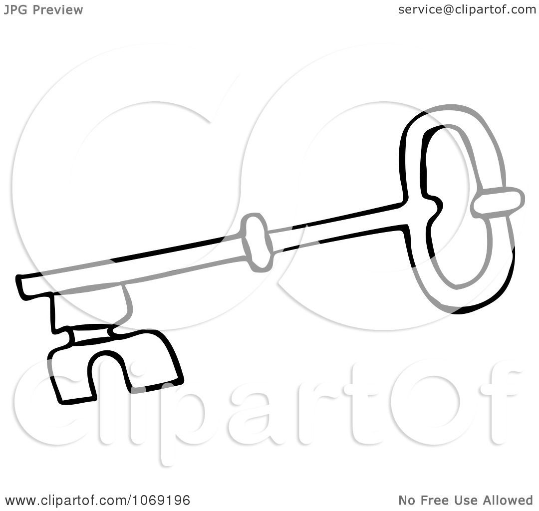 Clipart Outlined Skeleton Key 4