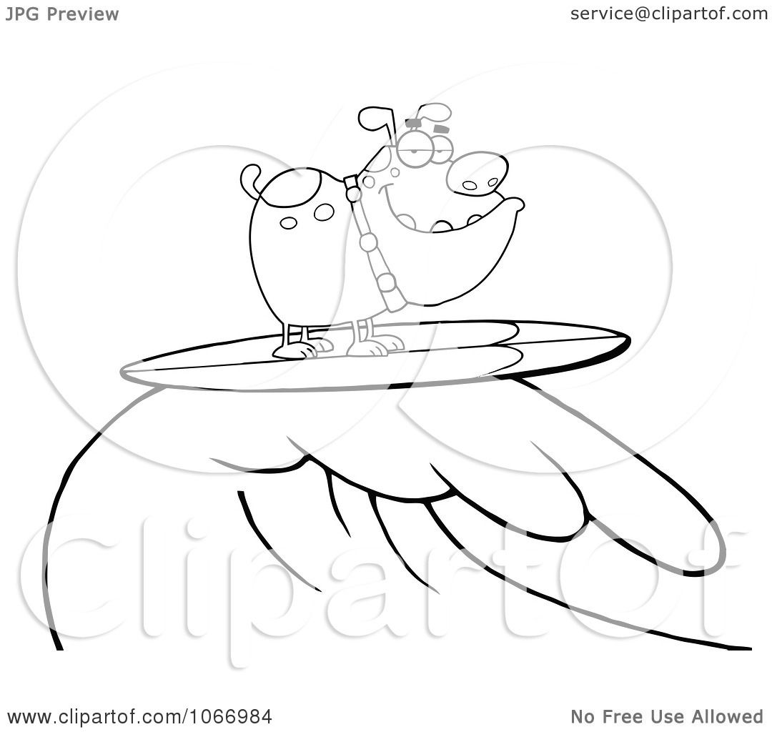 Clipart Outlined Surfing Bulldog Riding A Wave