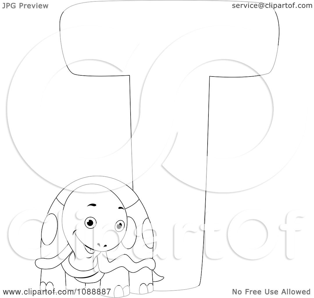 Clipart Outlined T Is For Turtle Coloring Page