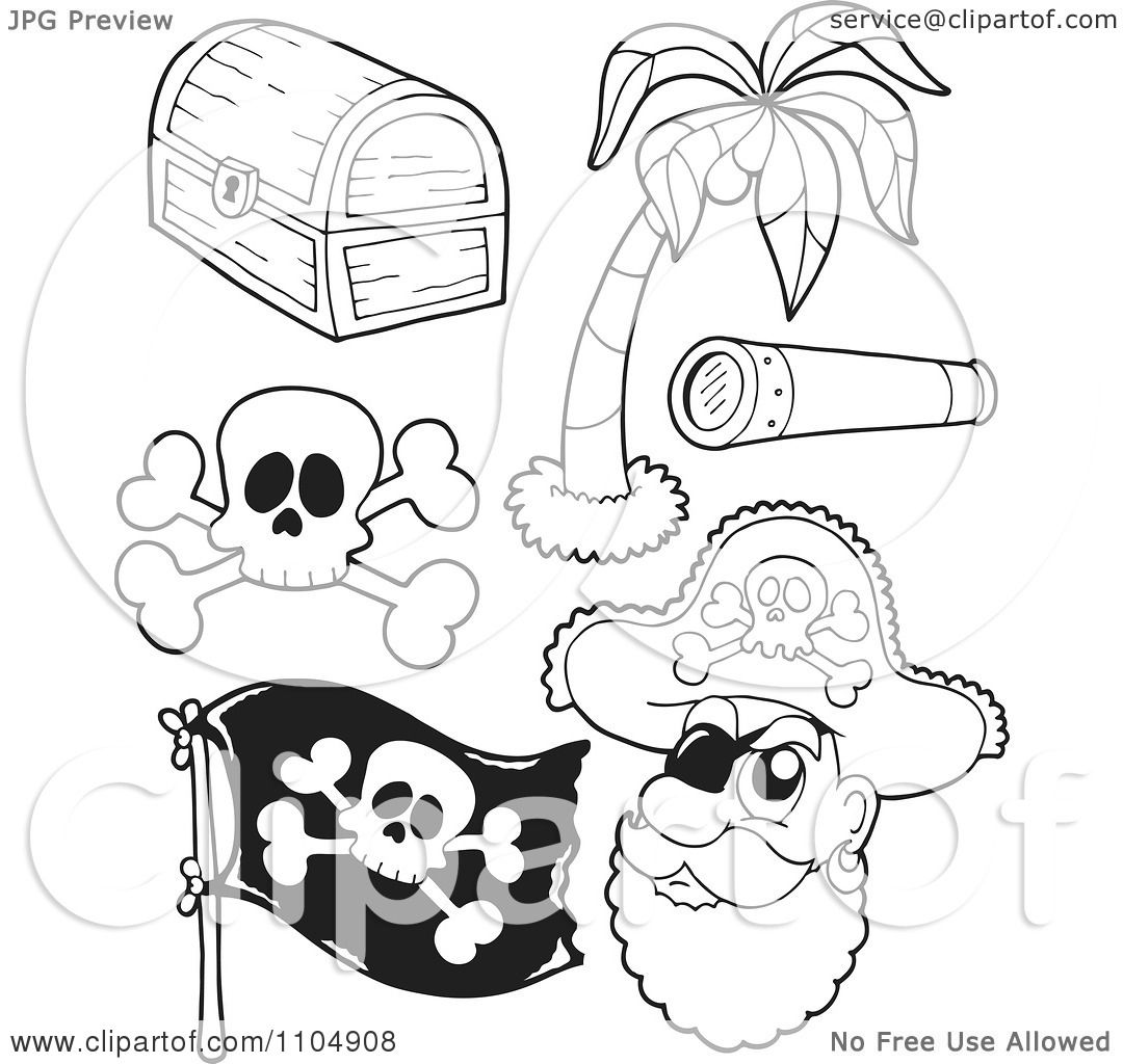 Clipart Outlined Treasure Chest Palm Tree Spyglass Skul