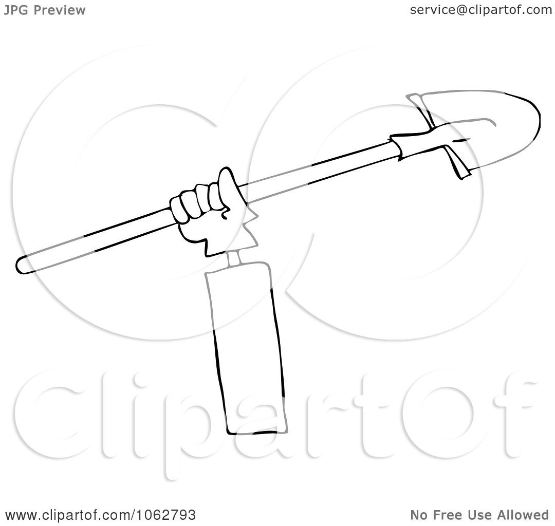 Clipart Outlined Trench Worker S Hand And Shovel