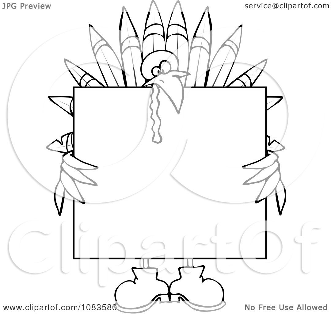 Clipart Outlined Turkey Holding A Thanksgiving Sign