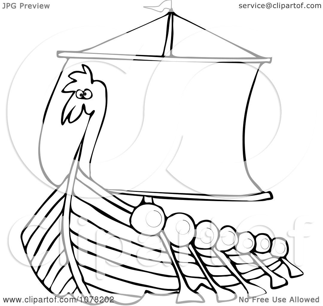 Clipart Outlined Viking Dragon Ship With Oars
