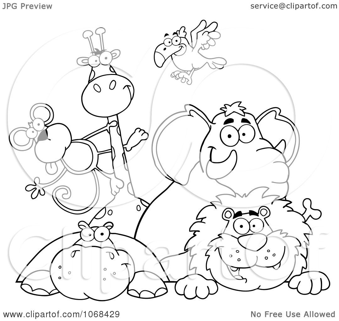 Clipart Outlined Zoo Animals Over A Sign 1