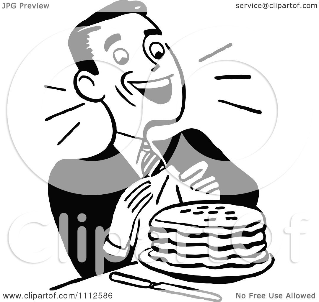 Clipart Retro Black And White Happy Man With Pancakes