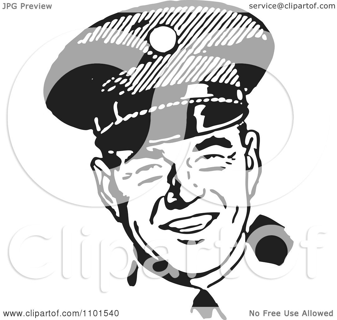 Clipart Retro Black And White Happy Police Officer