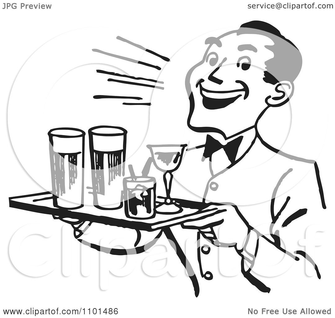 Clipart Retro Black And White Happy Waiter Serving