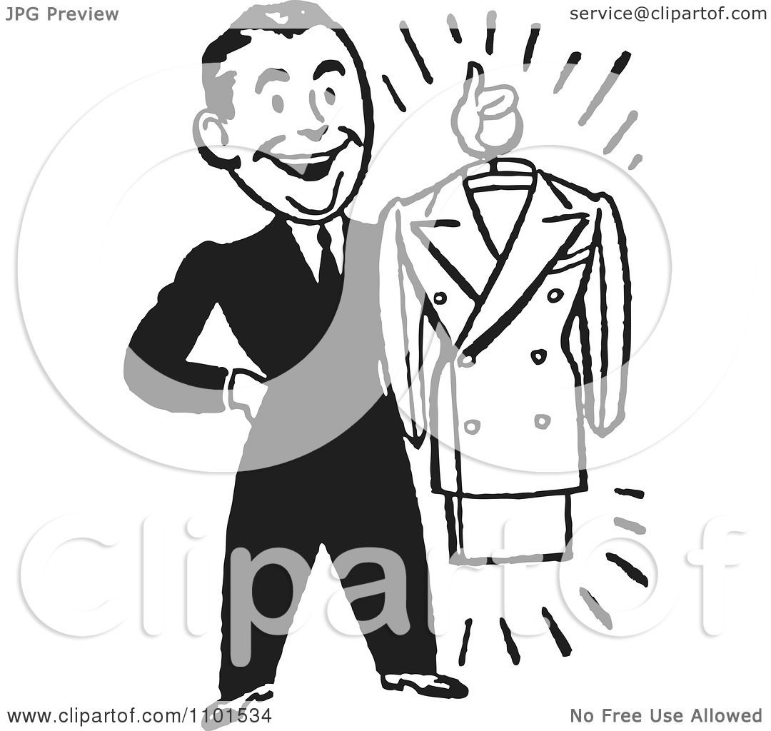 Clipart Retro Black And White Male Personal Shopper Holding A Business Dress Suit