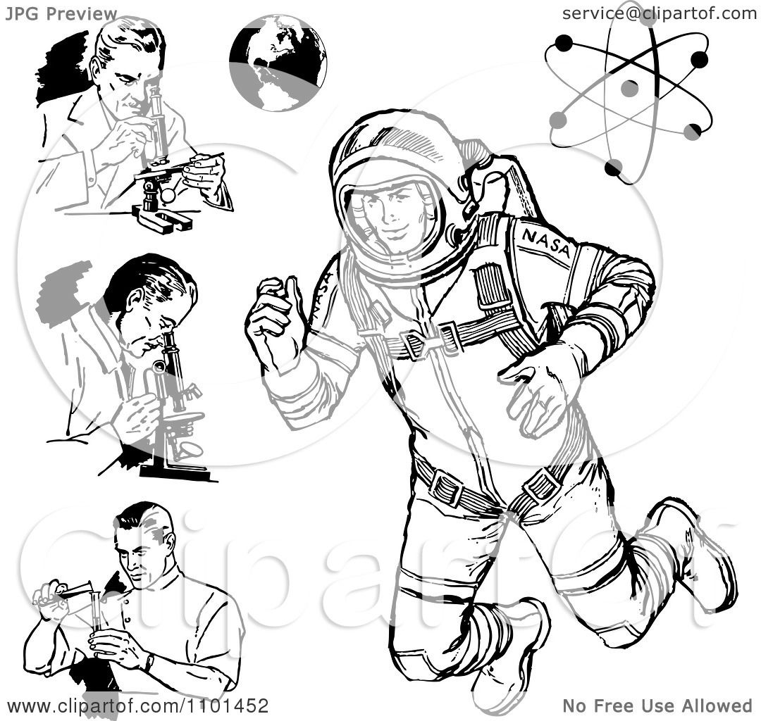 Clipart Retro Black And White Scientists Astronaut Earth And Atom
