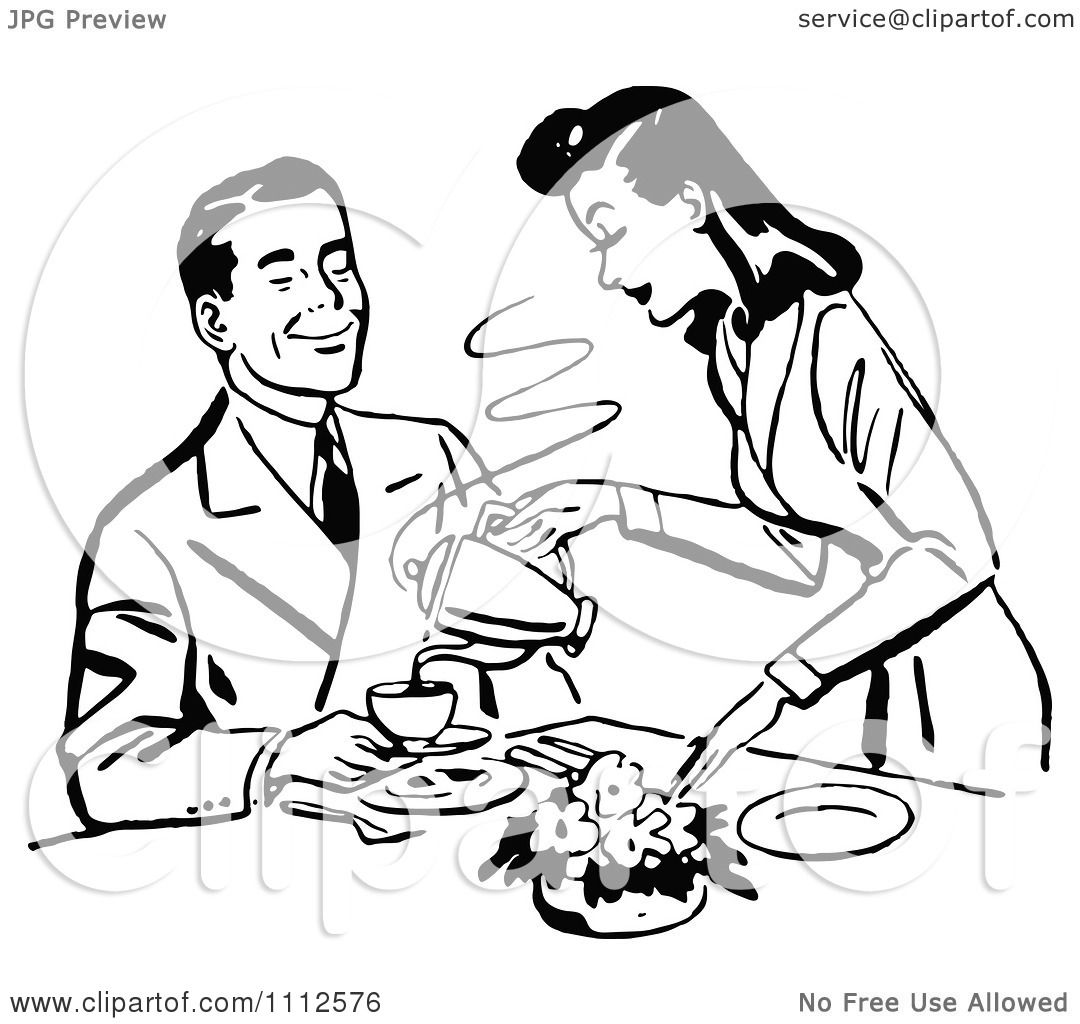 Clipart Retro Black And White Woman Pouring Her Husband Coffee