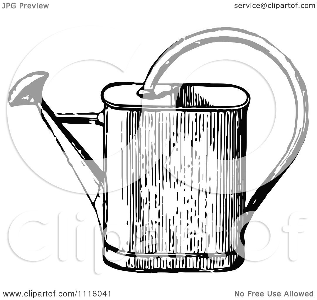 Clipart Retro Vintage Black And White Watering Can