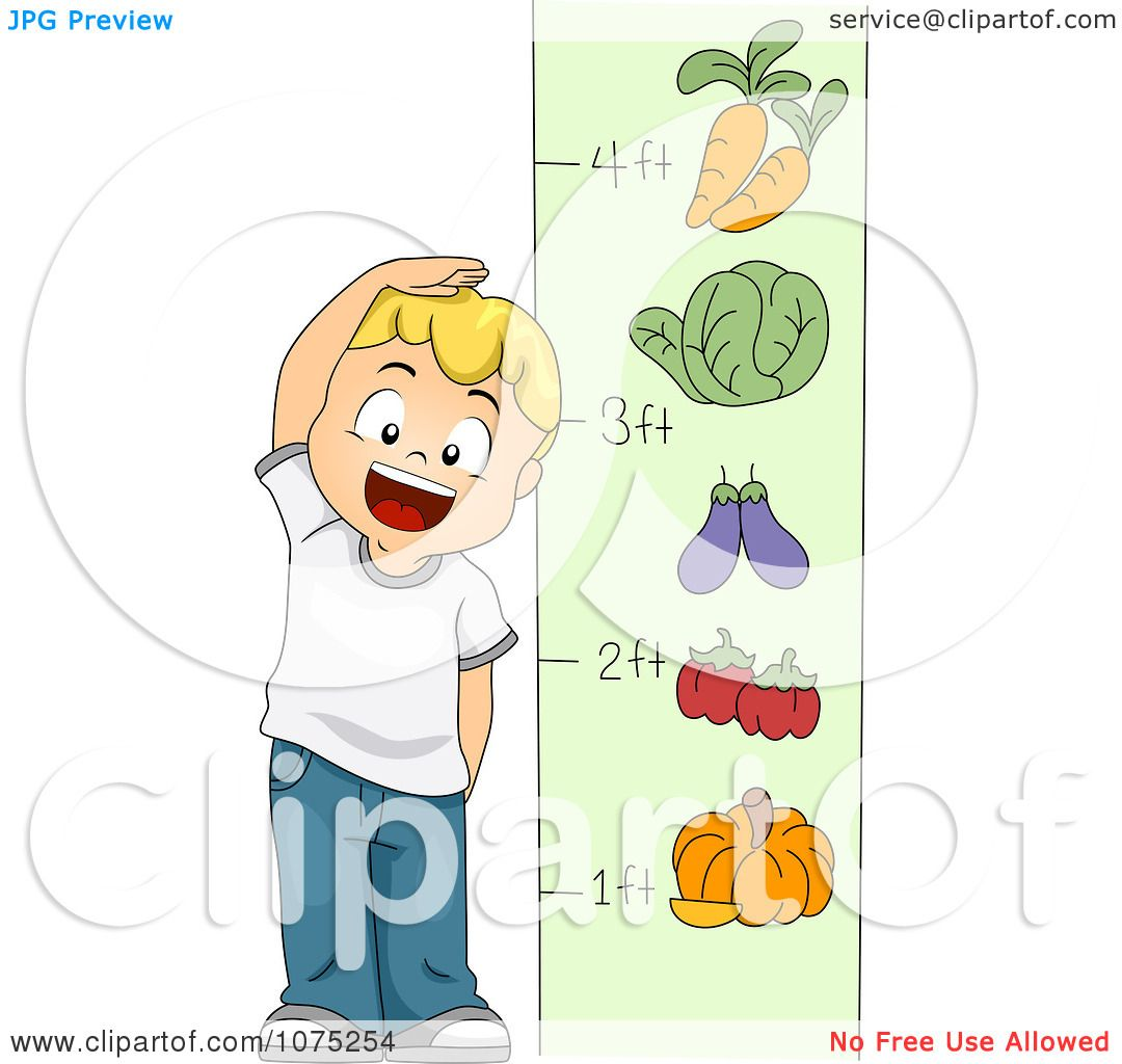 Clipart School Boy Measuring His Height